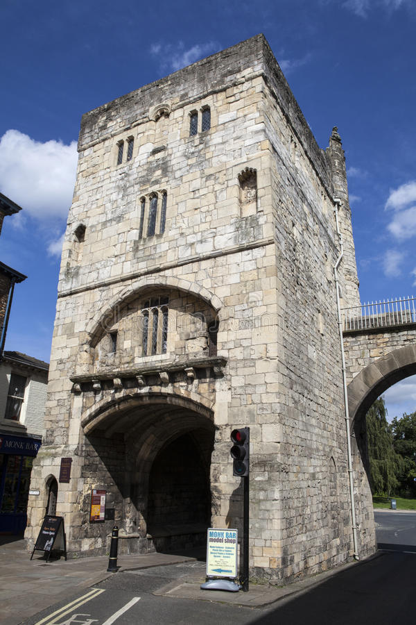 Monk Bar in York. YORK, UK - AUGUST 25TH 2015: A view of Monk Bar in York, on 25th August 2015. This is one of the historic gateways into the city of York and royalty free stock photo
