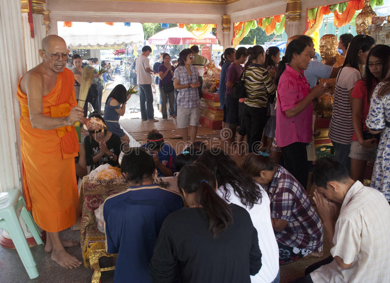Monk Blessed Worshipers At Thai Temple Editorial Stock Image