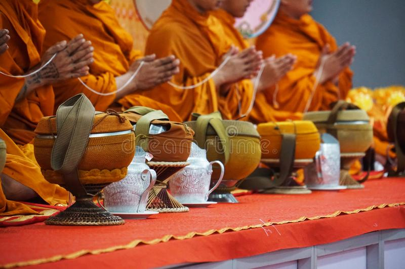Monk blessing ceremony in Thailand stock images