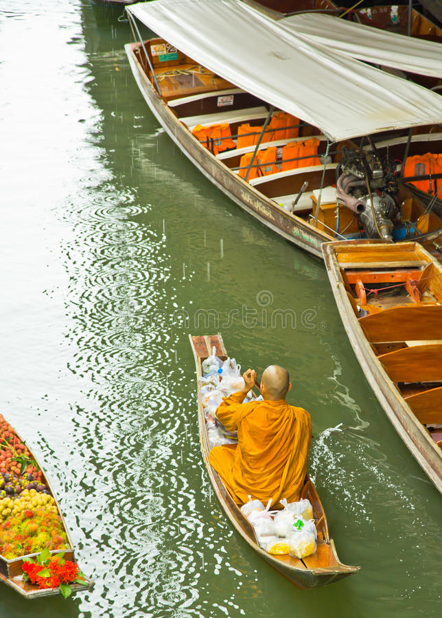 Download Monk On A Boat At Floating Market, Thailand Stock Image - Image of produce, buddha: 38334745