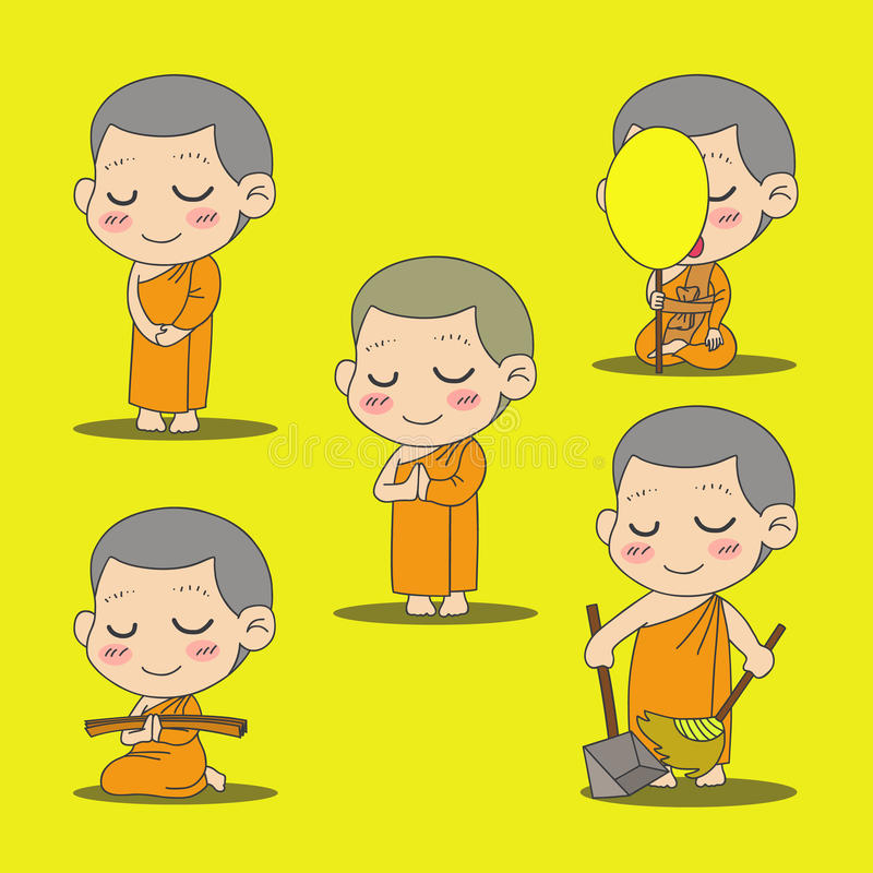 Monk cartoon vector illustration