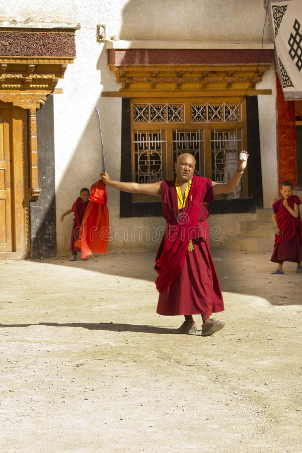 Monk Dancing And Praying In Lamayuru, Ladakh Editorial Stock Photo