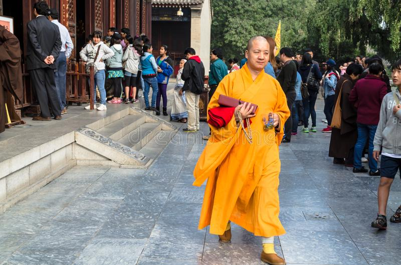 Monk at Giant Wild Goose Pagoda, Xi`an, Shaanxi Province, China. royalty free stock photography