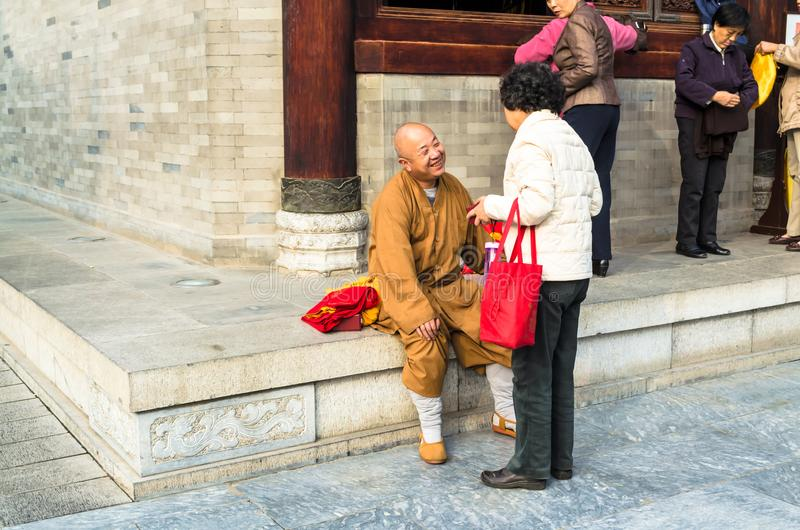 Monk at Giant Wild Goose Pagoda, Xi`an, Shaanxi Province, China. stock images