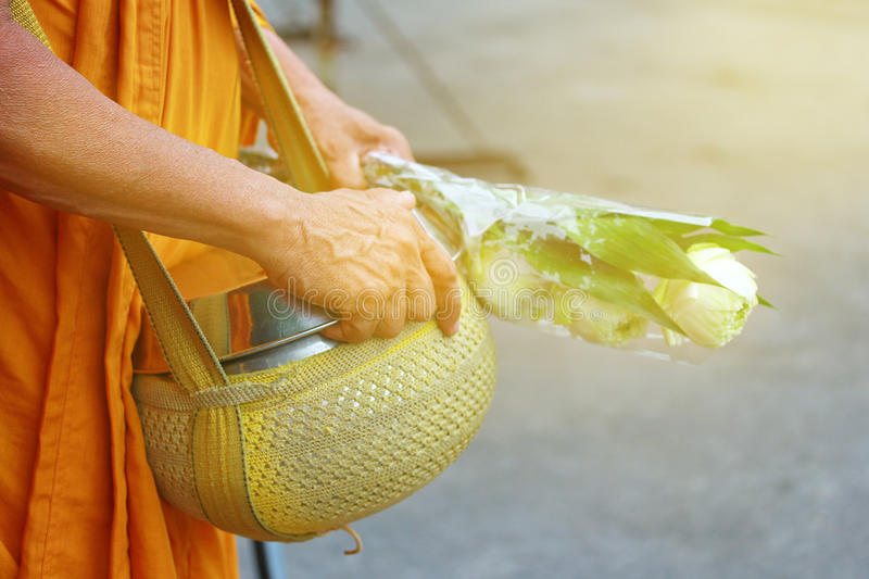 Monk is given food and lotus from Buddhist . Selective focus. royalty free stock photography