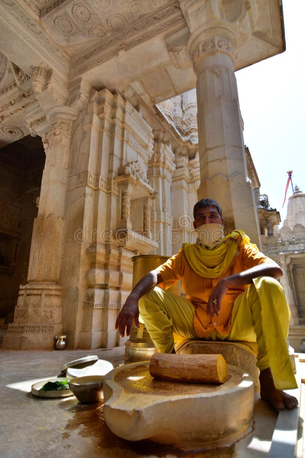 Monk. Jain temple. Ranakpur. Rajasthan. India. Ranakpur is a village located between Jodhpur and Udaipur, in the Pali district of Rajasthan in western India royalty free stock photography