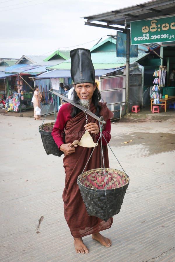 Monk at Kyaiktiyo Pagoda stock photography