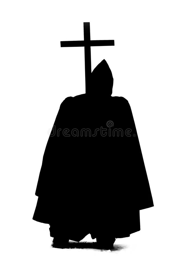 Monk with a long cross royalty free stock photography
