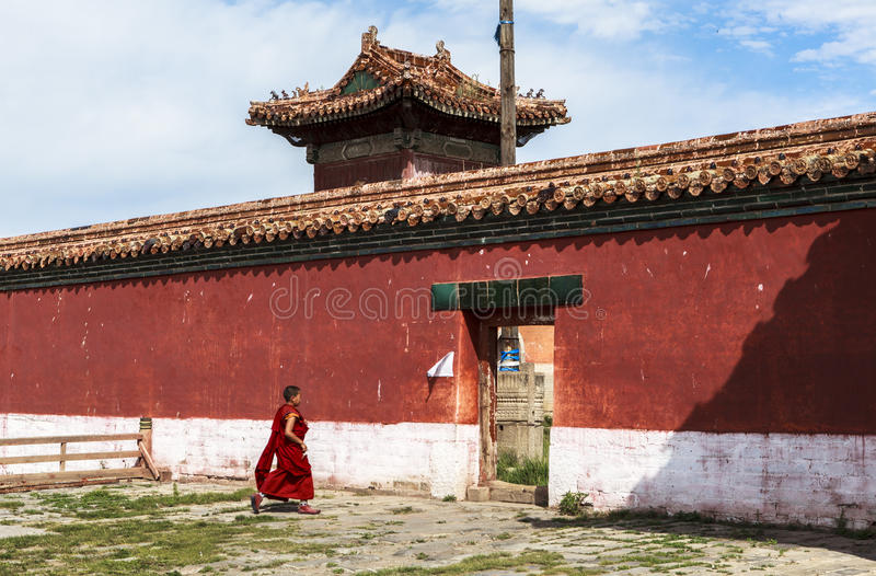 A Monk of Monastery in Mongolia. Buddhism in Mongolia derives much of its recent characteristics from Tibetan Buddhism of the Gelug and Kagyu lineages stock photo