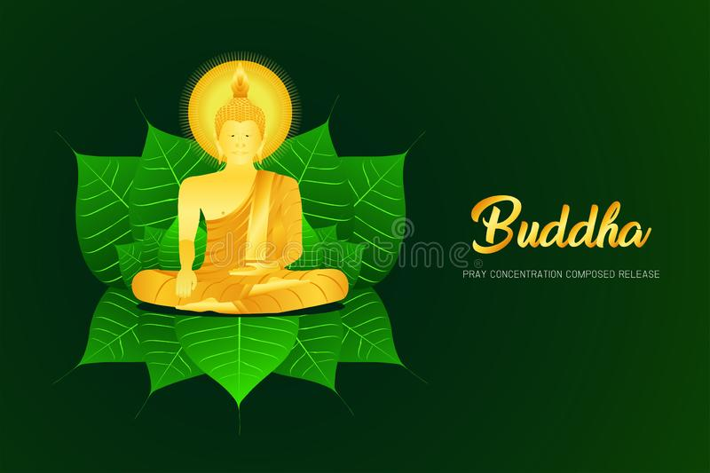Monk phra buddha pray sit on pho leaf concentration composed release religion culture faith  illustration eps10. Monk phra buddha pray sit on pho leaf royalty free illustration