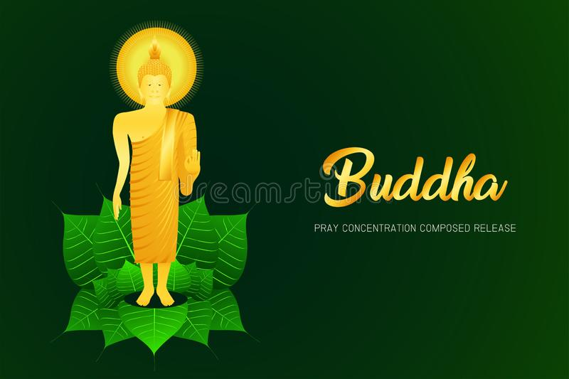 Monk phra buddha pray stand on pho leaf concentration composed release religion culture faith  illustration eps10. Monk phra buddha pray stand on pho leaf vector illustration