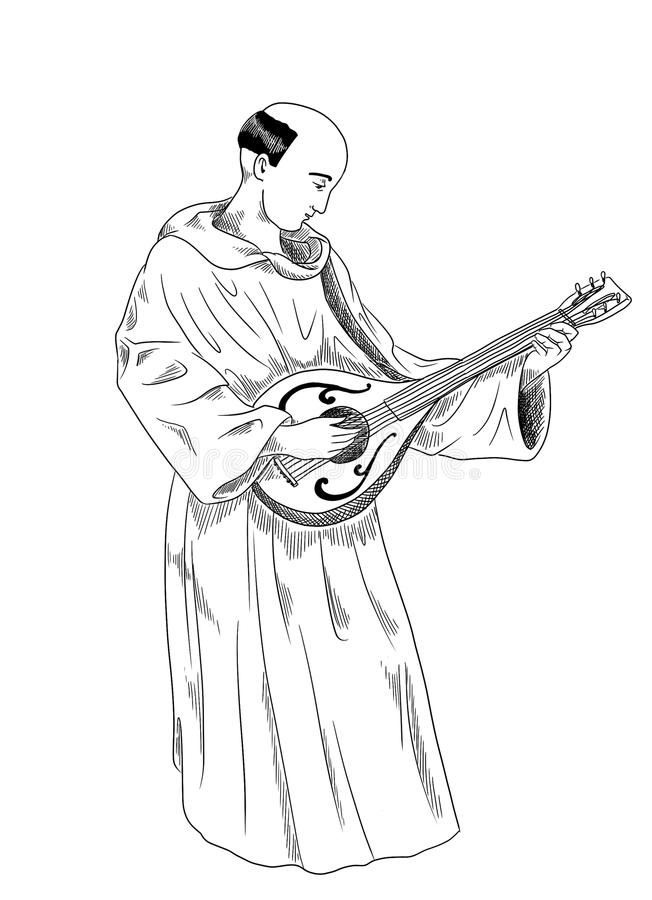 Download Monk playing lute stock illustration. Image of cloak - 27250972