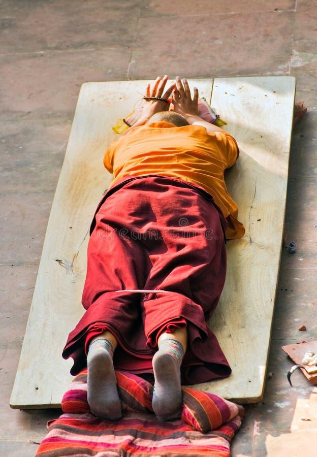 Monk praying. royalty free stock image