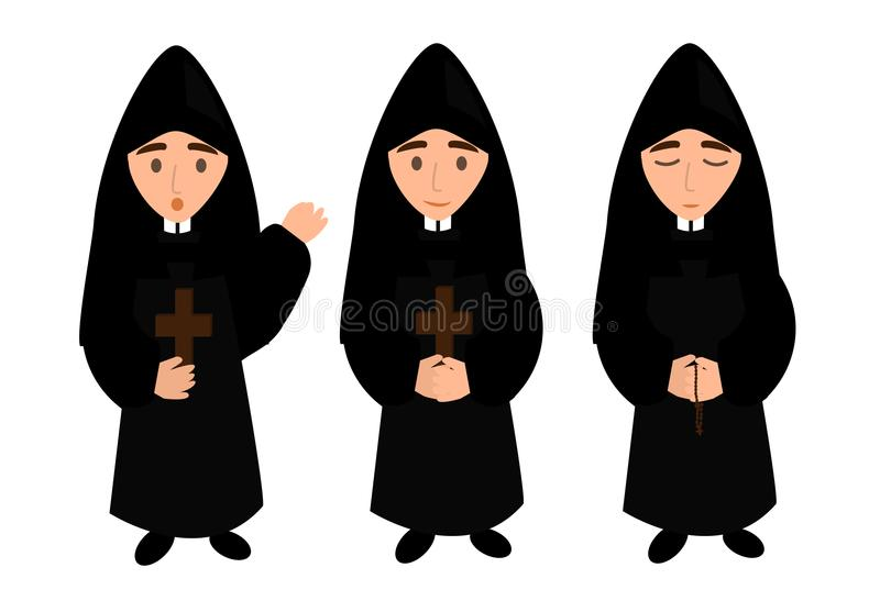 Monk - priest. A simple illustration - a monk sings, prays and blesses vector illustration