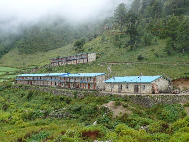 Monk's school and dormitory - Lho Monastery - Nepal. Manaslu trekking in Nepal - Buddhist temple in Lho village stock photography