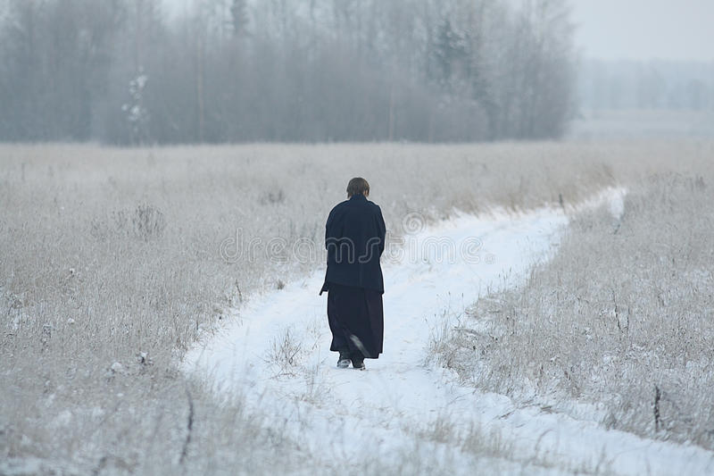 Monk samurai in winter field. Concept of the way Eastern philosophy stock photography