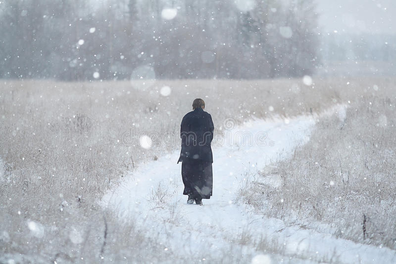 Monk samurai in winter field. Concept of the way Eastern philosophy royalty free stock photography