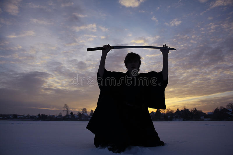 Monk samurai in winter field. Concept of the way Eastern philosophy stock images