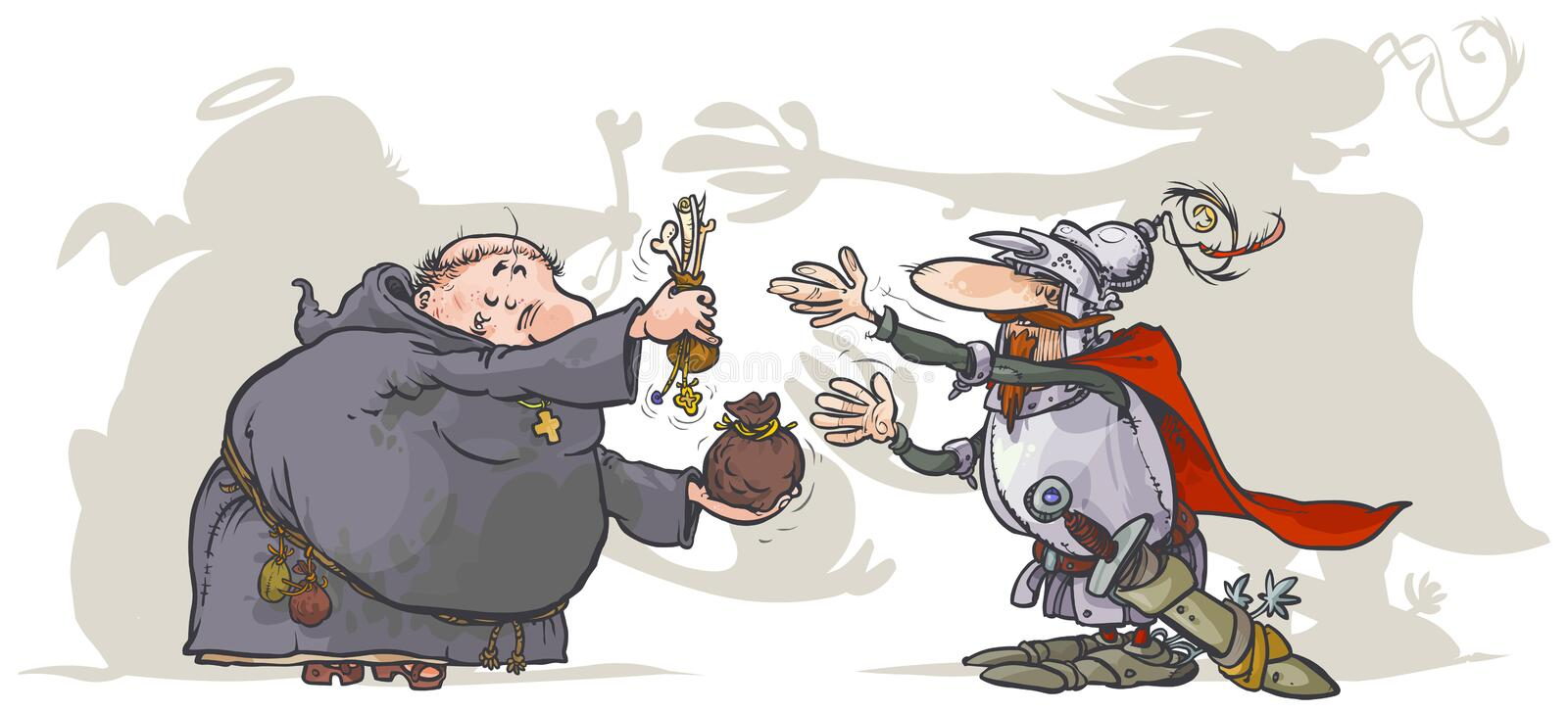 Monk, selling a holy relics to a Knight. royalty free illustration