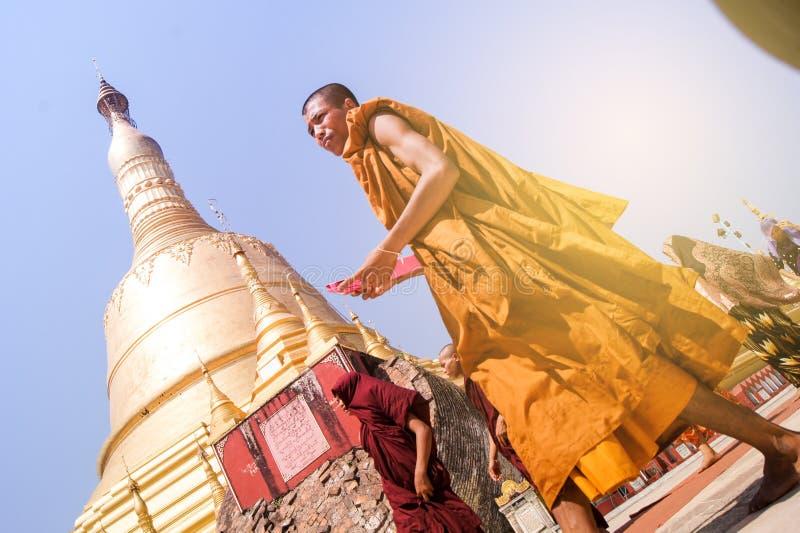 Monk Shwe Maw Daw Pagoda Myanmar or Burma. Shwe Maw Daw Pagoda (Shwemawdaw Pagoda), Myanmar or Burma royalty free stock image