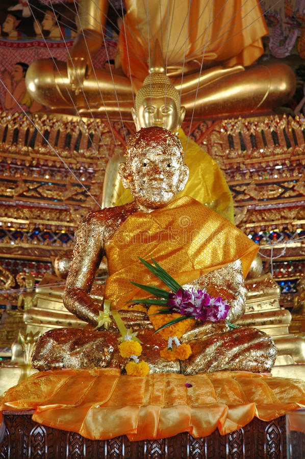 Download Monk Statue Covered With Gold Leaves Stock Image - Image: 36603543