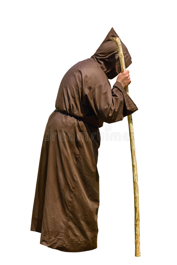 Monk with a Stick. Over the White Background stock photography