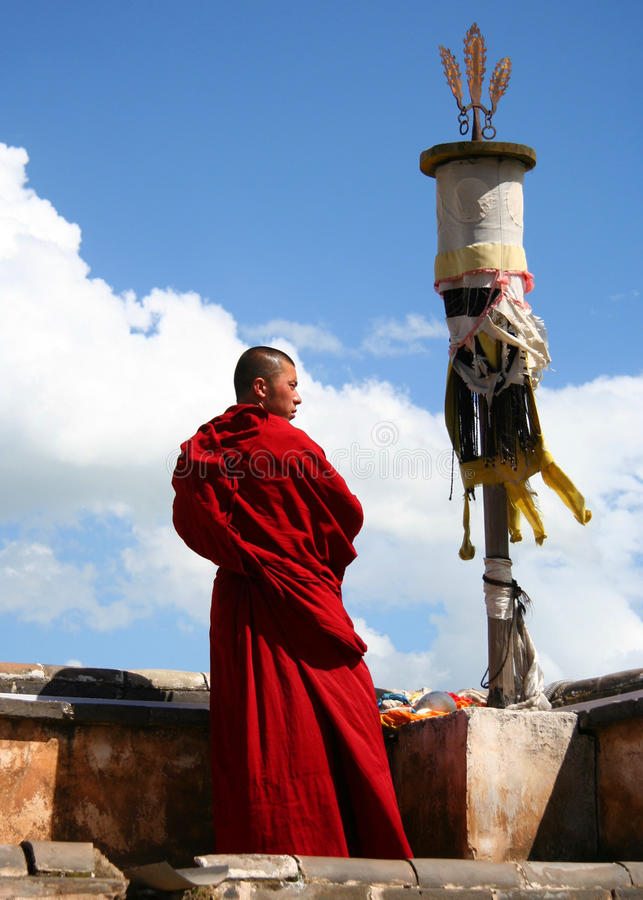 A monk in Ta'er Monastery stock photography