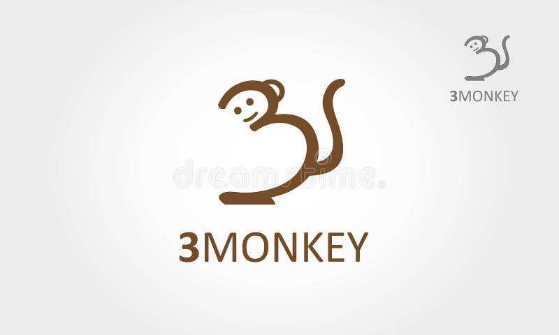 3Monkey动画片商标 皇族释放例证
