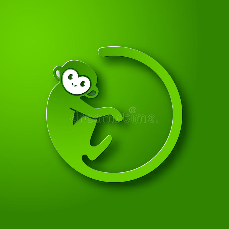 Monkey логотип в форме круга на зеленой предпосылке, Новом Годе 2016 иллюстрация вектора