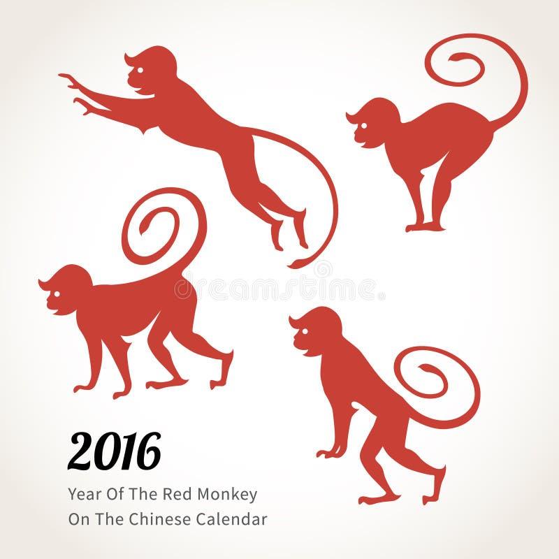 Monkey символ 2016 на китайском календаре иллюстрация вектора