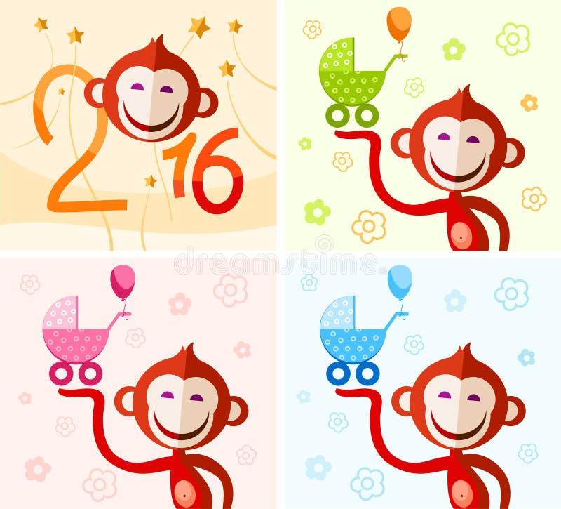Monkey с детской дорожной коляской, желанием рождества иллюстрация штока