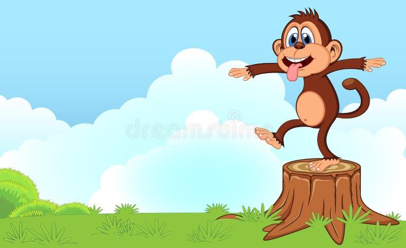 Monkey шарж в саде для вашего дизайна иллюстрация штока