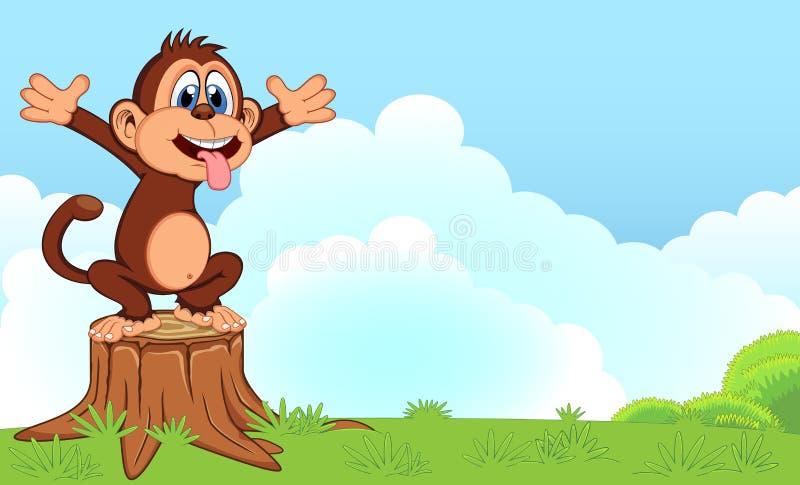 Monkey шарж в саде для вашего дизайна бесплатная иллюстрация