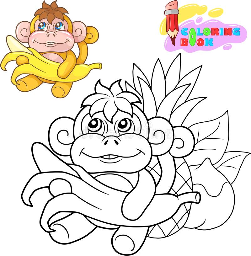 Cute little monkey coloring book funny illustration royalty free illustration