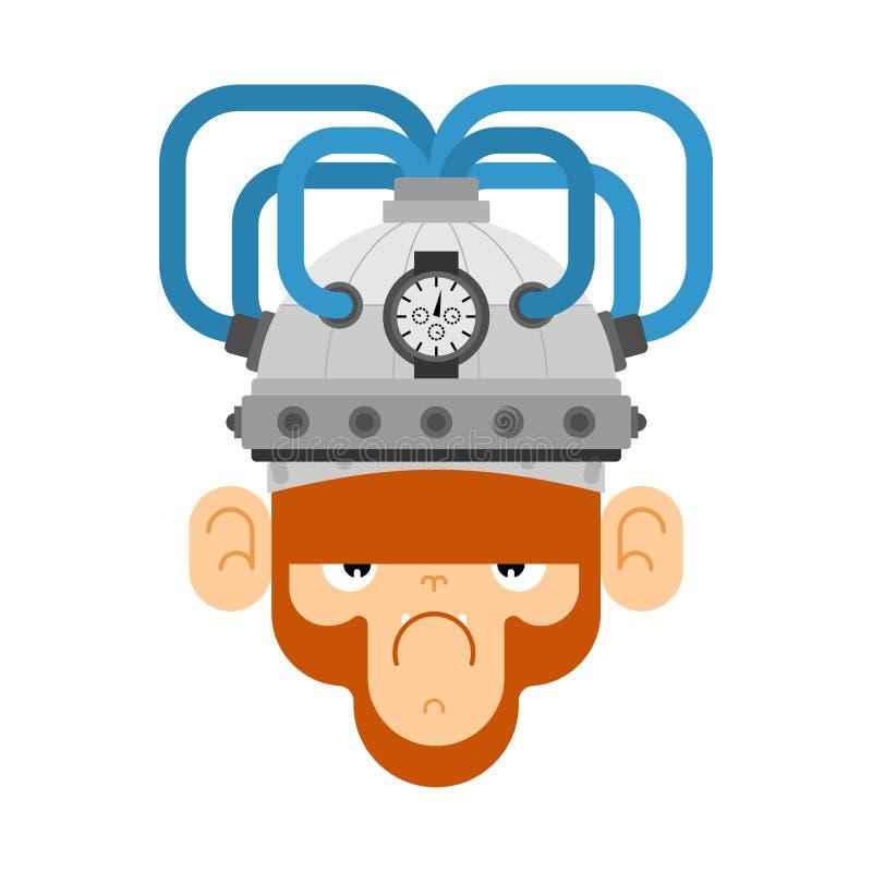 Free Monkey And Brain Stimulation Helmet. Apparatus Electronic Action On Brain Activity. Chimpanzee And Mind Stimulator Royalty Free Stock Photography - 187165567