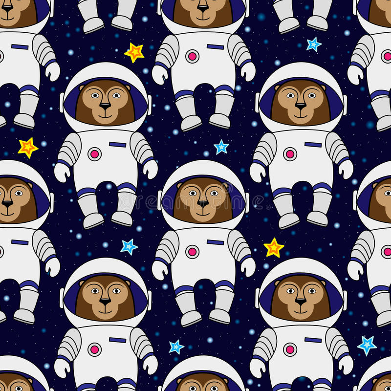 Monkey astronaut and stars in space, seamless pattern stock illustration