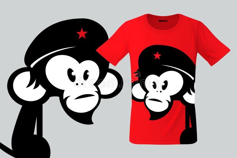 Monkey avec le béret, la conception de T-shirt, l'utilisation moderne d'impression pour des pulls molletonnés, les souvenirs, les illustration de vecteur