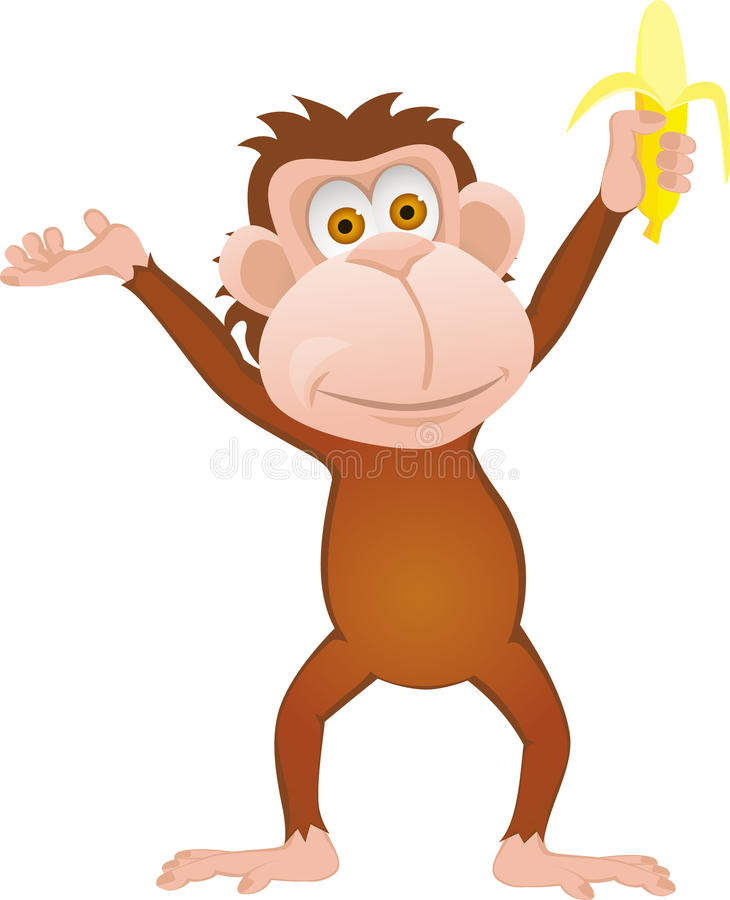 Download Monkey with banana stock vector. Image of naughty, caricature - 23390124