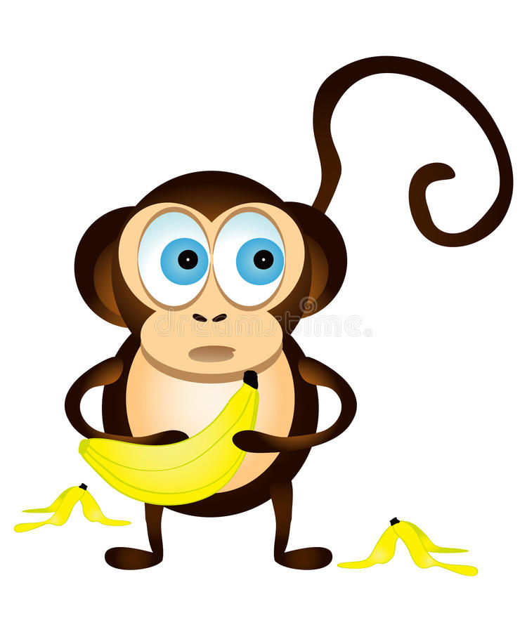 Monkey and Bananas. Monkey gets caught with bananas. Illustration with white background for more versatile use royalty free illustration