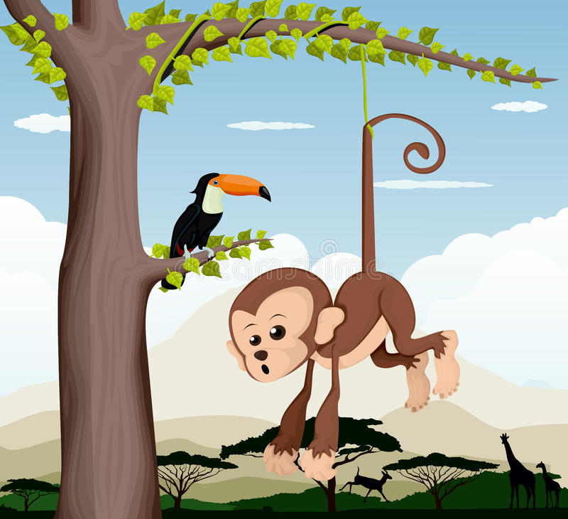 Monkey and a bird in a tree. Vector illustration background vector illustration
