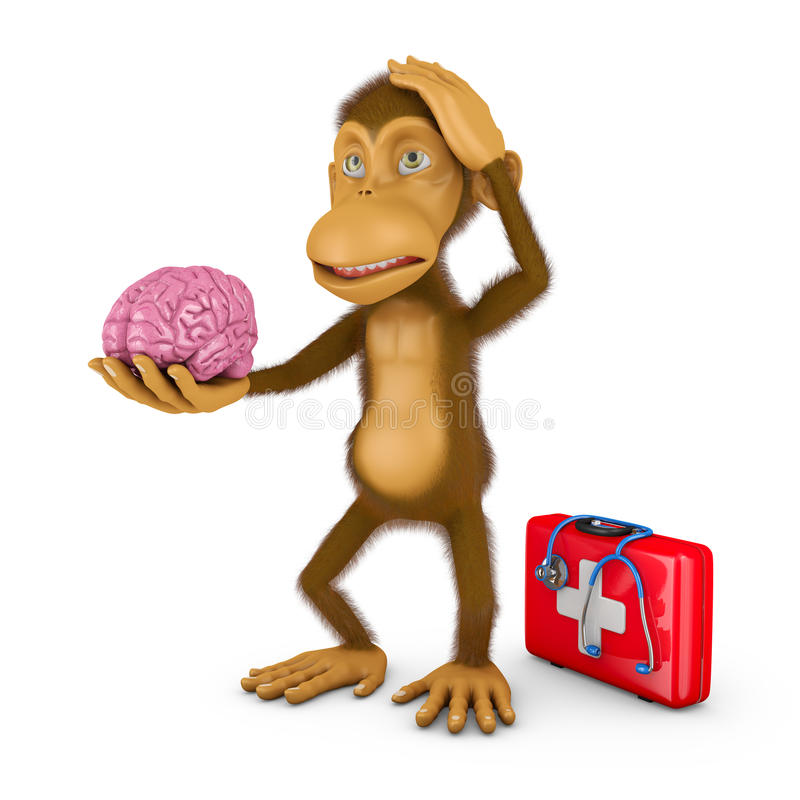 Monkey with brain. Monkey holding a human brain, 3d render royalty free illustration