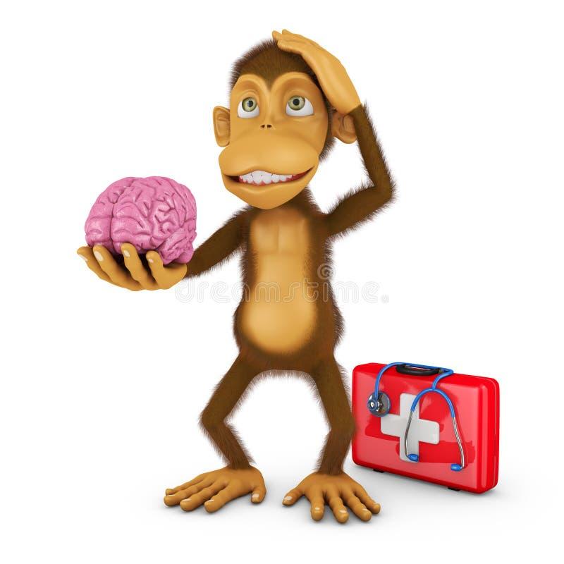 Monkey with brain. Monkey holding a human brain, 3d render vector illustration