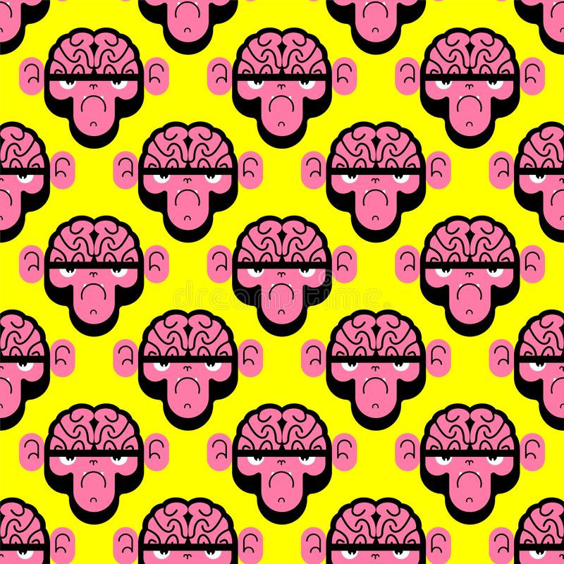 Monkey with brain pattern seamless. Gorilla with brains background. Vector texture royalty free illustration