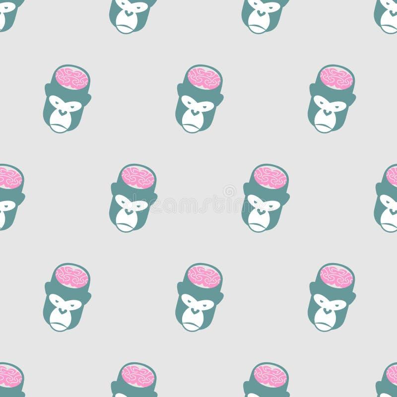 Monkey Brains Gorilla seamless pattern. Vector background of animal heads. vector illustration