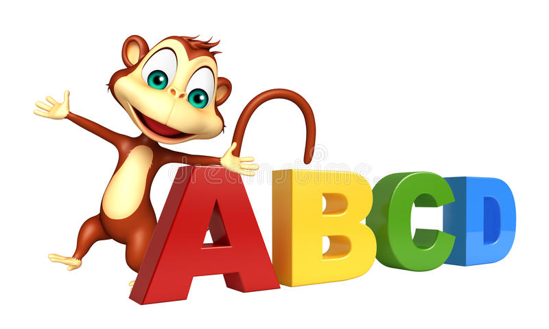 B C Cartoon Characters : Monkey cartoon character with abcd sign stock illustration