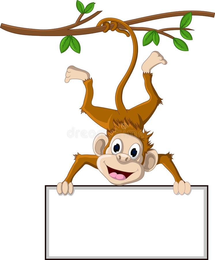 Monkey cartoon holding blank sign stock illustration