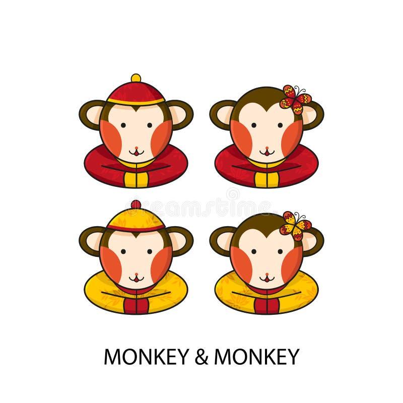 Monkey Chinese Happy New Year royalty free illustration