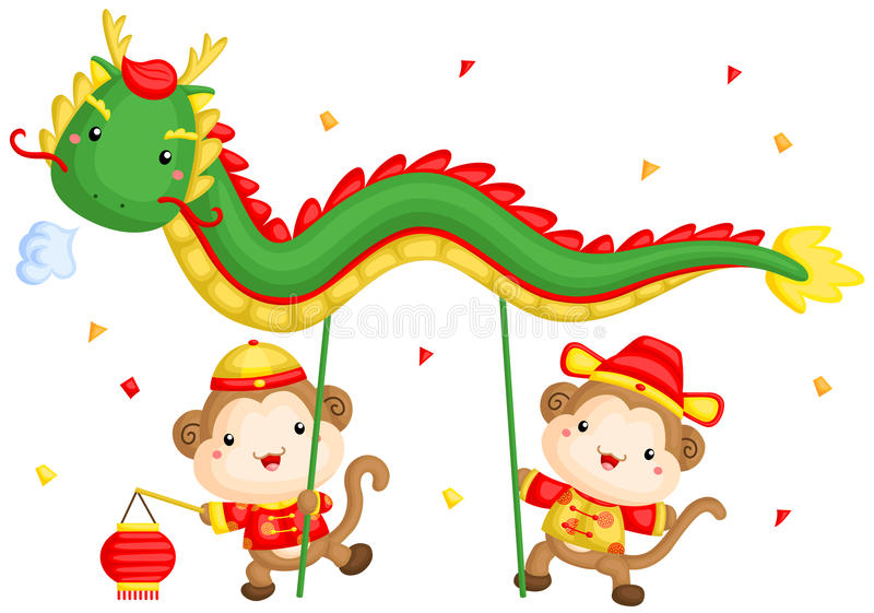 download monkey chinese new year dragon dance stock vector image 64649001 - Chinese New Year Dragon Dance