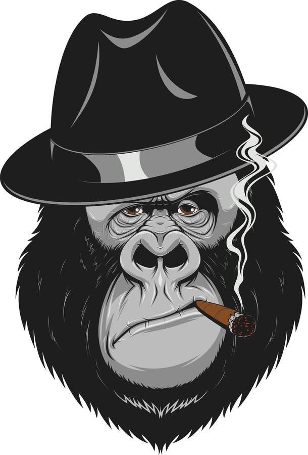Monkey with a cigar. Vector illustration, formidable gorilla gangster smoking a cigar vector illustration