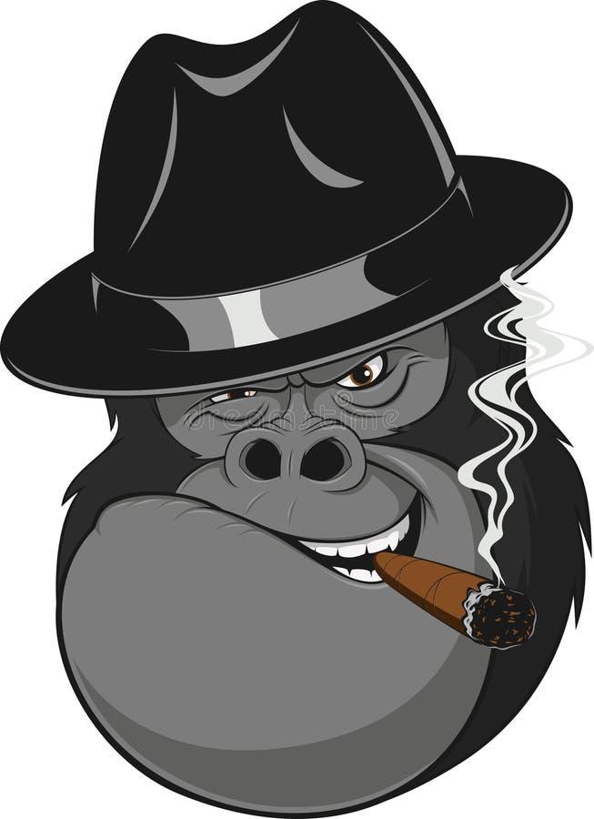 Monkey with a cigar. Vector illustration, formidable gorilla gangster smoking a cigar stock illustration